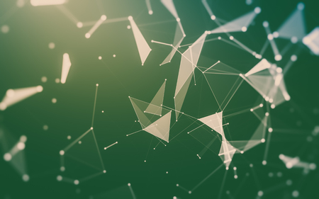 Abstract polygonal space low poly dark background with connecting dots and lines. Connection structure. 3d rendering Stock Photo - 82116164