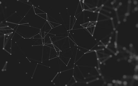 추상 다각형 공간 점 및 선을 연결하는 낮은 폴 리 어두운 배경. 연결 구조. 3 차원 렌더링