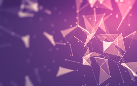 espacio poligonal baja poli fondo oscuro abstracto con los puntos y líneas de conexión. estructura de conexión. Las 3D Foto de archivo