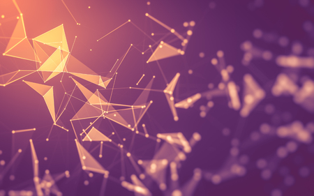 metal structure: Abstract polygonal space low poly dark background with connecting dots and lines. Connection structure. 3d rendering