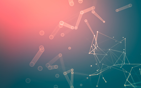 Abstract polygonal space low poly dark background with connecting dots and lines. Connection structure. 3d rendering