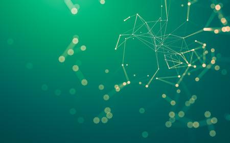 Resumen espacio poligonal bajo poli oscuro fondo oscuro con puntos y líneas de conexión. Estructura de conexión. Representación 3d Foto de archivo