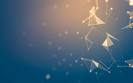 Abstrait. Technologie des molécules avec des formes polygonales, reliant des points et des lignes. Structure de connexion. Visualisation des mégadonnées.