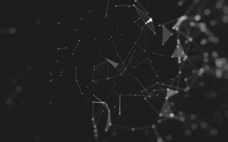 Abstract background. Molecules technology with polygonal shapes, connecting dots and lines. Connection structure. Big data visualization.
