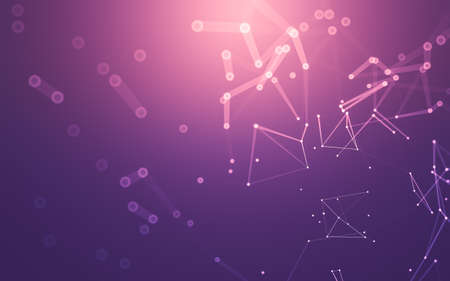 Abstract background. Molecules technology with polygonal shapes, connecting dots and lines. Connection structure. Big data visualization. Stock Photo - 154927123