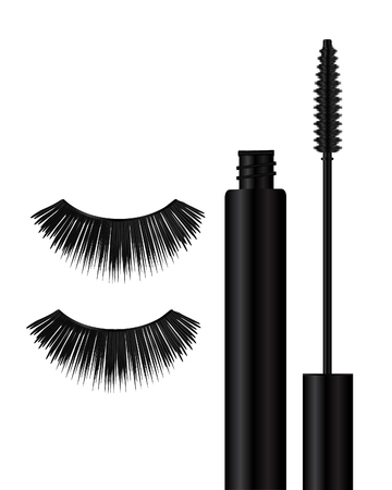 Set of makeup brushes on white background. illustration Illustration