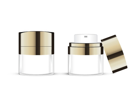 Premium Cosmetics, face cream for beauty. mask with sparkling pearls. Vector illustration of realistic 3D gold.