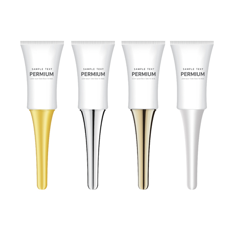 Empty and clean tubes for gel, care cream or essence. Set of blank template of realistic containers for cosmetic products in white, black, beige, grey and golden colors. Isolated vector illustration