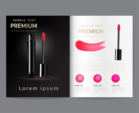 Makeup ad templates, Crimson lipstick dolls with Sparkle, 3D illustration, Black gold background