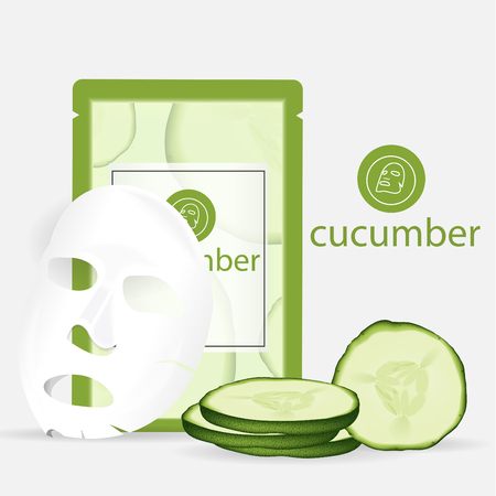 Vector 3d sheet facial mask cucumber moisture treatment. Package design for face mask with