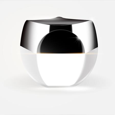 V chef Elegant cream container, 3D illustration cosmetic plastic container template for cream, gel.