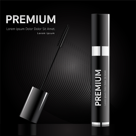 Brush the mascara with a rhythmic mascara isolated from the black background. 矢量图像