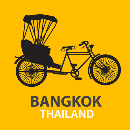 Three-wheeled tractor in Thailand on a separate yellow background.