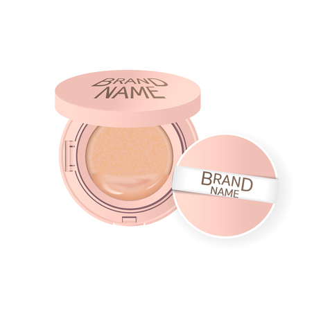 Compact foundation ads, attractive makeup essential product with texture isolated on glitter background, 3d illustration Vectores
