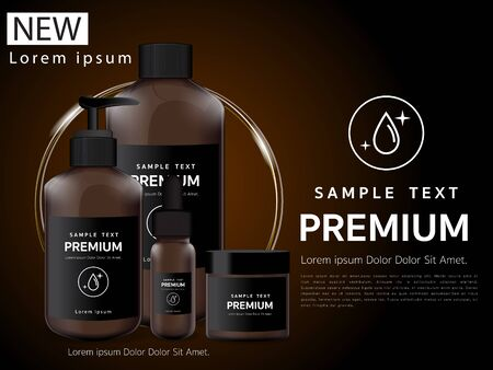 Bath cream, brown glass bottle packaging with water shampoo mockup design of brand illustrations Stock Vector 矢量图像