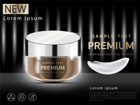 Premium VIP Cosmetics, face cream for beauty. mask with sparkling pearls. Vector illustration of realistic 3D