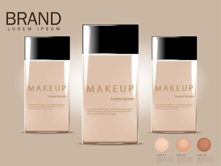 BB Cream-Anzeigen, kompakte Grundlage, attraktive Make-up-Produkte mit den Beschaffenheiten lokalisiert vom funkelnden Hintergrund 3d.