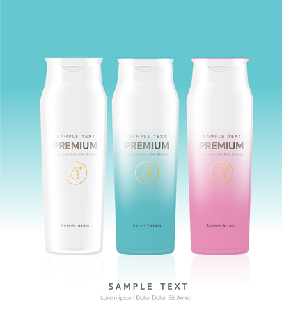 Shower Cream,White plastic packaging with hair shampoo. water. Product brand mockup design. Stock vector illustration.