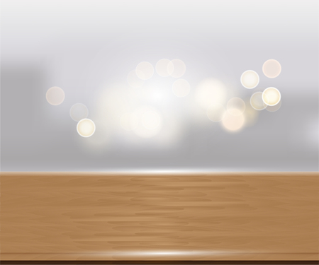 Wood table top on white blurred abstract background from building