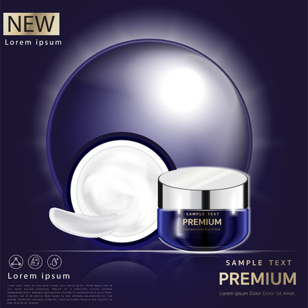 Cream  Facial mask placed on a beautiful blue background, light cream white can be separated.