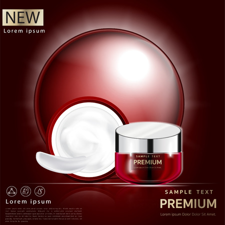 Cream  Facial mask placed on a beautiful red background, light cream white can be separated.