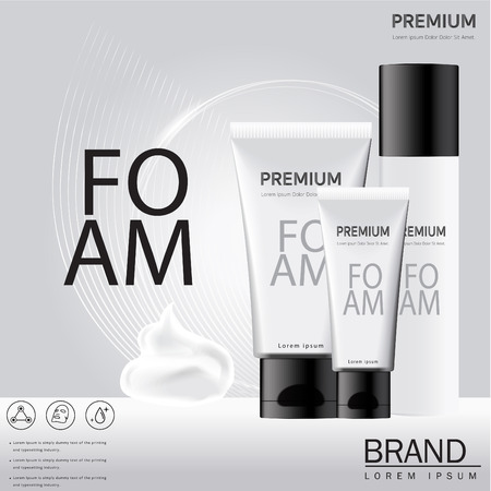 A Realistic cosmetic mockup design. Cosmetics products for cream, foams,  Mock up for your brand template. Vector illustration.