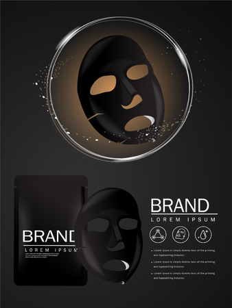 Vector mask gold face moisturizing 3D Packaging Design for Face Mask