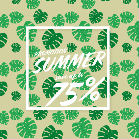Sale banner, poster with palm leaves, jungle leaf. Beautiful vector floral tropical summer background