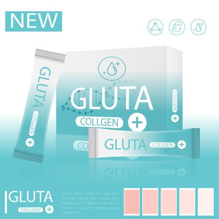 glutathione pack on a light pink background. 矢量图像