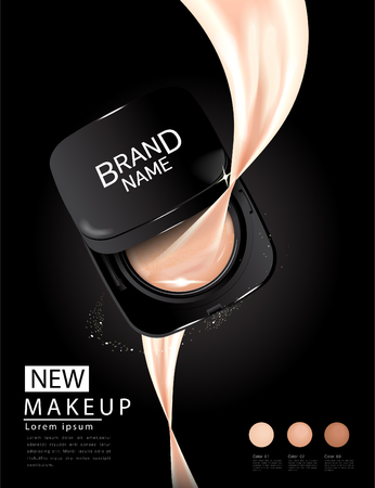 Compact foundation ads, attractive makeup essential product with texture isolated on glitter background, 3d illustration Illustration