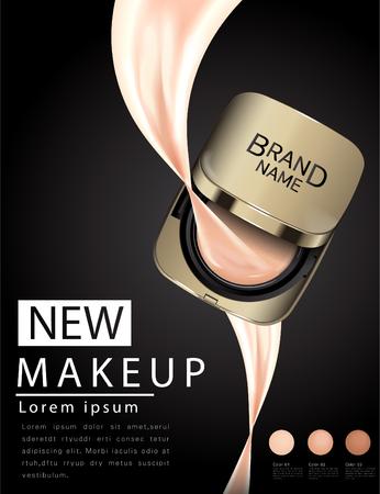 De compacte stichtingsadvertenties, aantrekkelijk make-up essentieel product met textuur schitteren op achtergrond, 3d illustratie Vector Illustratie