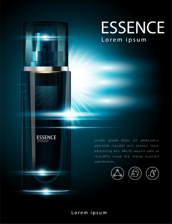 Facial Treatment Essence Skin care Beautiful on a dark blue background. 矢量图像
