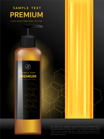Shower Gel, Plastic Packaging with Shampoo Hair of honey The mockup design of brand vector illustrations