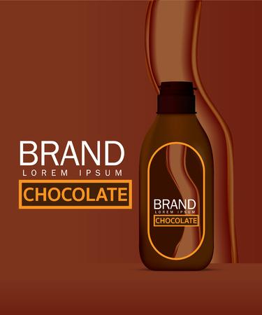 Chocolate sauce in bottle vector