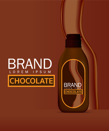 Chocolate sauce in bottle vector