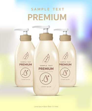 Shower gel, plastic packaging, light yellow with shampoo, mockup design of the brand, vector illustration