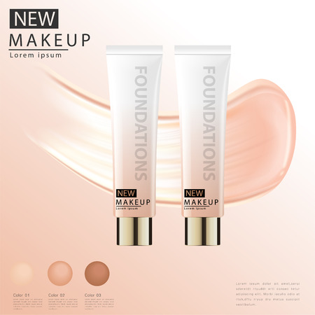 Compact foundation ads, attractive makeup essential product with texture isolated on glitter background, 3d illustration Vettoriali