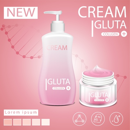 Body lotion Pink glutathione pack with capsule and the third ingredient can be separated. On a light pink background.