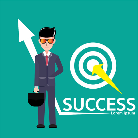 businessmen of columns column Business ideas about goals, accomplishments, achievements, and challenges. Vector Illustration