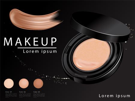 Anuncios de base de cojín compacto, atractivo producto esencial de maquillaje con textura aislada sobre fondo brillante, ilustración 3d