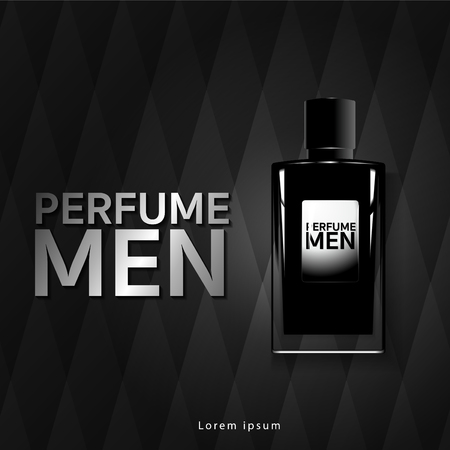 Men's fragrance Glass bottle luxury packaging. Isolated from vector background.  イラスト・ベクター素材