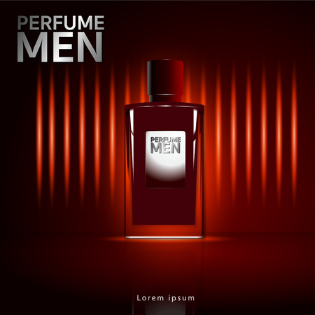 Men's fragrance Glass bottle luxury packaging. Isolated from vector background. 矢量图像