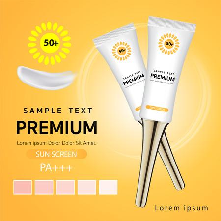 Advertising templates, sunscreen, 3D plastic tubes for advertising or magazine vector. Vettoriali