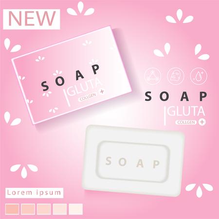 Soap advertisement design. Vector wash soap background