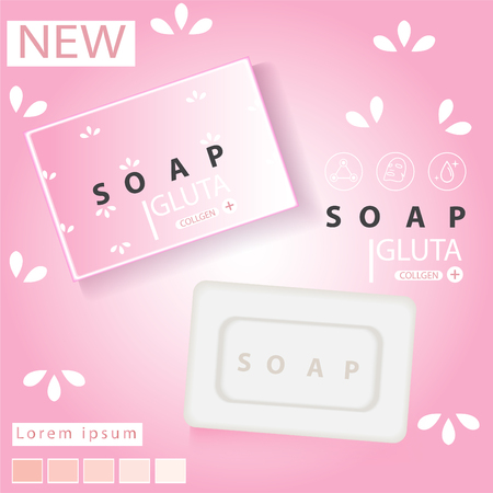 Soap advertisement design. Vector wash soap background Archivio Fotografico - 109626875
