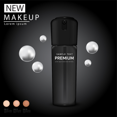 Compact foundation ads, attractive makeup essential product with texture, 3d illustration