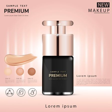 Compact foundation ads, attractive makeup essential product with texture isolated on glitter background, 3d illustration 矢量图像