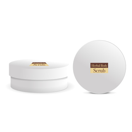 Round white matte plastic  with lid for cosmetics - body cream, butter, scrub, bath salt, gel, skin care, powder. Realistic packaging mockup template.Vector illustration. Archivio Fotografico - 125660833