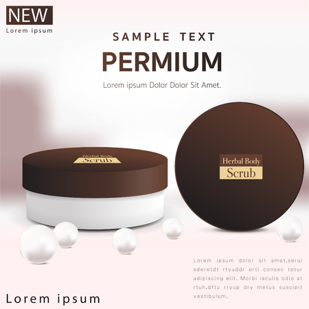 Round white matte plastic  with lid for cosmetics - body cream, butter, scrub, bath salt, gel, skin care, powder. Realistic packaging mockup template.Vector illustration.