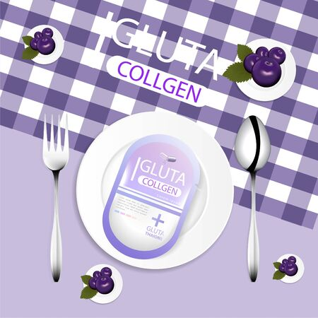 glutathione pack . Empty food plate, spoon, repair, put on fabric, can be separated 矢量图像
